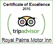 Trip Advisor Certificate of Excellence 2016 Winner - Royal Palms Motor Inn, Coffs Harbour, NSW