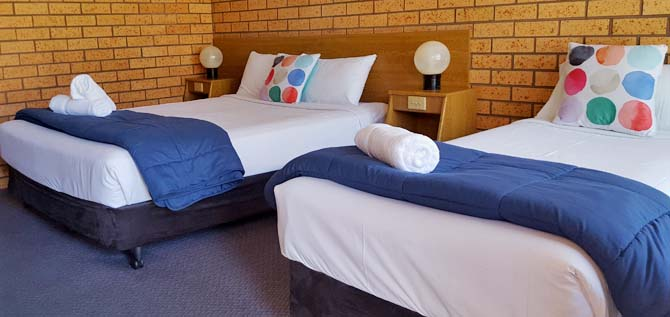 We offer a variety of ground floor and upstairs rooms to accommodate individuals, couples and families Royal Palms Motor Inn at Coffs Harbour NSW.